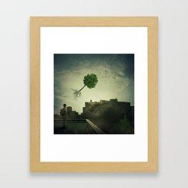 Greening of the foggy town Framed Art Print