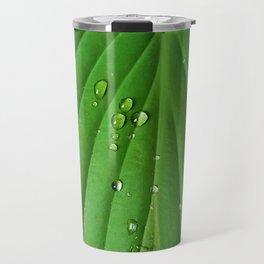 After Spring Rain - Water Droplets on a Leaf Travel Mug