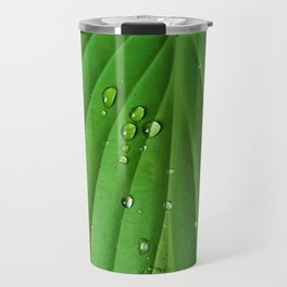 After Spring Rain - Water Droplets on a Leaf Travel Mug