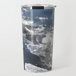 Abstracted waves splashing ashore Travel Mug