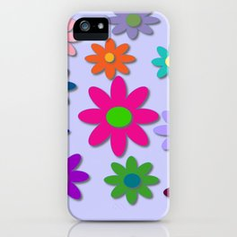 Flower Power - Light Purple Background - Fun Flowers - 60' Hippie Syle iPhone Case