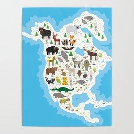 bison bat manatee fox elk horse wolf partridge fur seal Polar bear Pit viper snake Mountain goat Poster