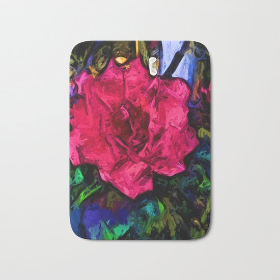 Pink Flower with Black Lines Bath Mat