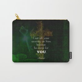 1 Peter 5:7 Uplifting Bible Verses Quote Carry-All Pouch