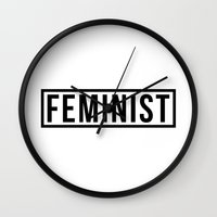 feminist Wall Clocks featuring Feminist White by jupiter