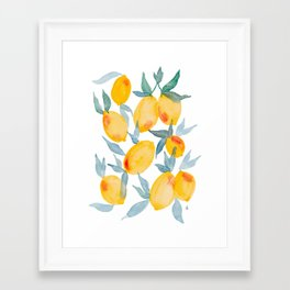 Lucky Lemons Watercolor Fruit Pattern in Peach and Yellow Framed Art Print