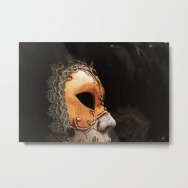 Approach of a Venetian carnival mask with its typical decorations. Metal Print