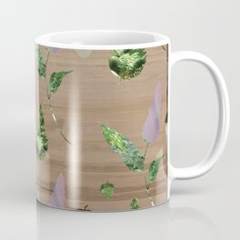 Floral Pattern on Wooden Table Coffee Mug
