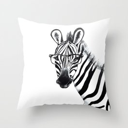 Zebra with glasses, black and white Throw Pillow