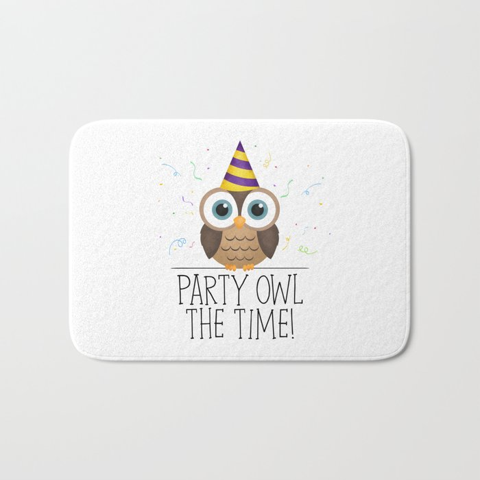 Party Owl The Time Bath Mat