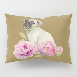 Pug and Peonies | Watercolor Illustration Pillow Sham