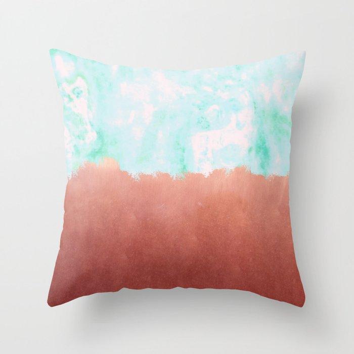 Sea Green + Copper #society6 #decor #buyart Throw Pillow
