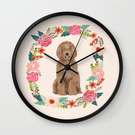 labradoodle floral wreath dog breed pet portrait pure breed dog lovers Wall Clock