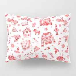 Cozy Hygge Elements in Red + White Pillow Sham