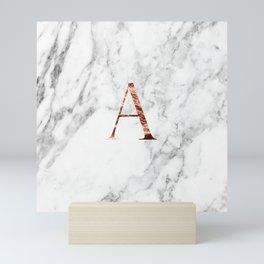 Monogram rose gold marble A Mini Art Print