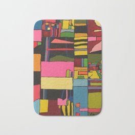 Colors in Collision 2 - Geometric Abstract in Blue Yellow Pink and Green Bath Mat