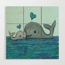 Whale Mom and Baby with Hearts in Gray and Turquoise Wood Wall Art