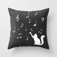 Cat music Throw Pillow