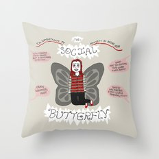 Social(ly Anxious) Butterfly Throw Pillow