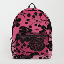 Simple Black Floral and Swallow Print Pink Ombre Backpack