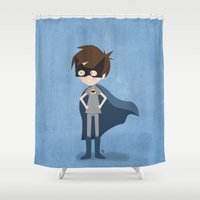 superhero Shower Curtains featuring Superhero by made by kale