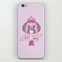 shih tzu iPhone & iPod Skins featuring Li'l Shit Shih Tzu by Cassie S