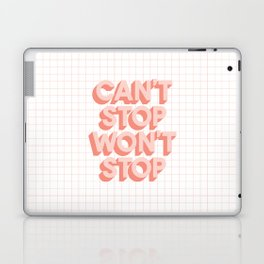 Can't Stop Won't Stop 3D typography wall art home decor in pink peach Laptop & iPad Skin