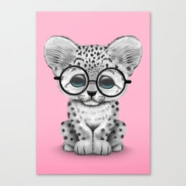 Cute Snow Leopard Cub Wearing Glasses on Pink Canvas Print