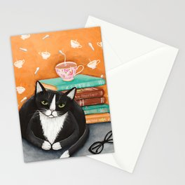 Cats, Tea, and Books Stationery Cards