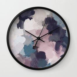Teal Indigo Lavender Abstract Wall Art, Feminine Painting Print, Modern Wall Art Wall Clock