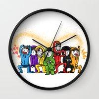 power rangers Wall Clocks featuring infinite rangers by yum'