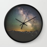 luke hemmings Wall Clocks featuring Milky Way IV by Luke Gram