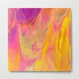 Dripping in Gold Abstract Painting Metal Print