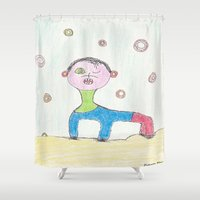 tim burton Shower Curtains featuring Donut Donkey Tim by Plutonian Oatmeal