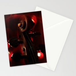 Fiery Red Violin Scroll Stationery Cards