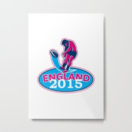Rugby Player Kicking Ball England 2015 Retro Metal Print