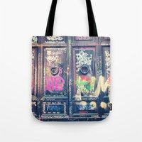 doors Tote Bags featuring doors by dillon hesse