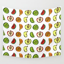 Fruit Abstract Pattern Oranges, Apples and Limes Wall Tapestry
