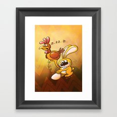 Easter Bunny Stealing an Egg from a Hen Framed Art Print