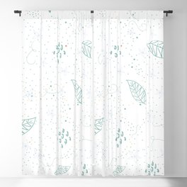 Seamless Pattern With Hand Drawn Leaves. Scandinavian Style Blackout Curtain