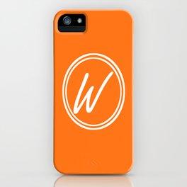 Monogram - Letter W on Pumpkin Orange Background iPhone Case