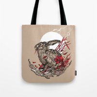 hare Tote Bags featuring Hare by Rachael Smart