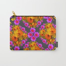 Hot Pink Roses Golden Daffodils Dark Grey Art Carry-All Pouch