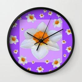 ULTRA VIOLET  WHITE DAFFODILS GARDEN ART Wall Clock