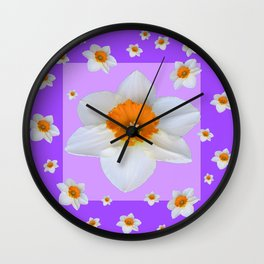 ULTRA VIOLET  WHITE DAFFODILS GARDEN ART Wall Clock