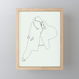 Feeling good in the morning, fashion woman single line drawing, stylish vintage posters set Framed Mini Art Print