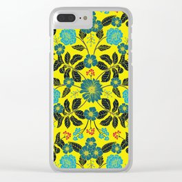 Bright Yellow, Red, Turquoise & Navy Blue Floral Pattern Clear iPhone Case