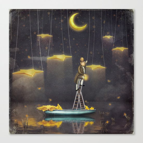Man reaching for stars  at top of tall ladder Canvas Print