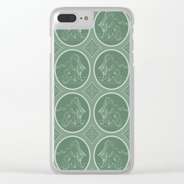 Grisaille Fern Green Neo-Classical Ovals Clear iPhone Case