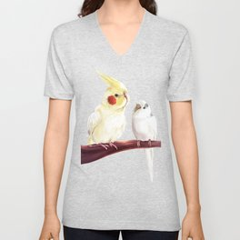 Budgie and Cockatiel Unisex V-Neck